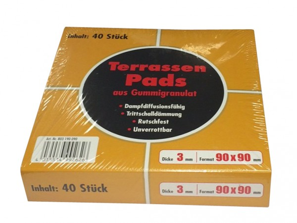 Terrassenpads 3 mm aus Gummigranulat 40 Stück