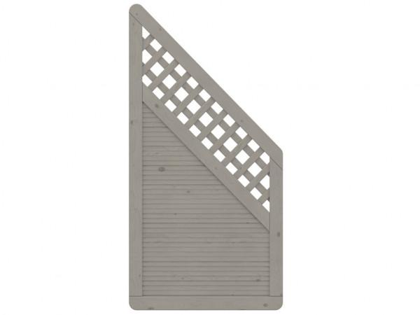 Sichtschutzzaun ARZAGO Abschlusselement mit Gitter grau
