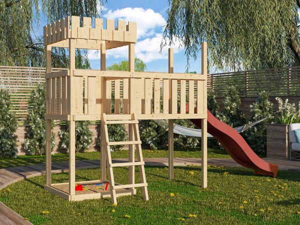 Spielturm SET Ritterburg Löwenherz naturbelassen inkl. Rutsche rot + Anbauplattform XL