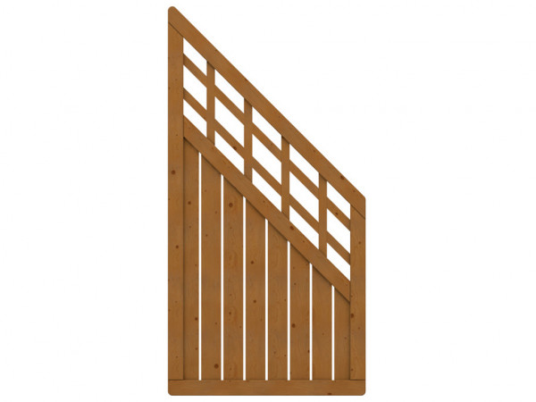 Sichtschutzzaun COMO Abschlusselement mit Gitter braun