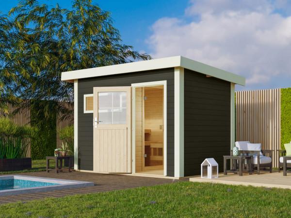 Saunahaus Suva 1 Grau mit Holztür, inkl. 9 kW Bio-Ofen mit externer Steuerung