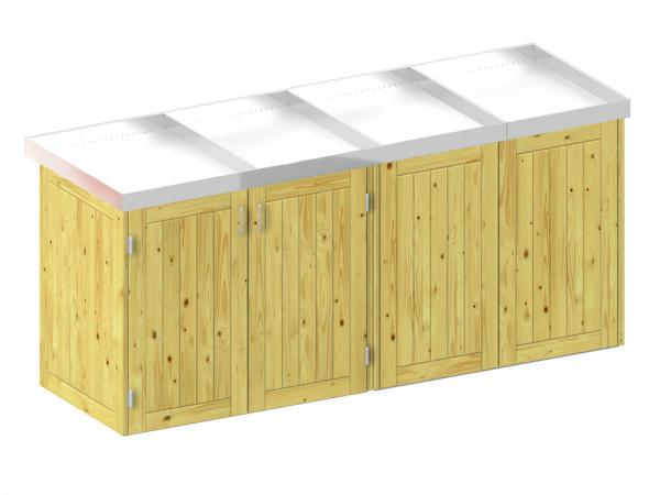 Mülltonnenbox für 4 Behälter, Nadelholz mit Pflanzschale
